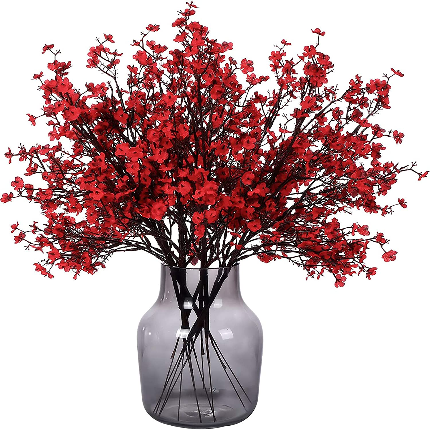 Momkids 6 Pcs Babys Breath Artificial Flowers Bulk Real Touch Faux Gypsophila Bouquet Fake Plastic Silk Flowers for Home Kitchen Bedroom Festival Wedding Party Decor(Red)