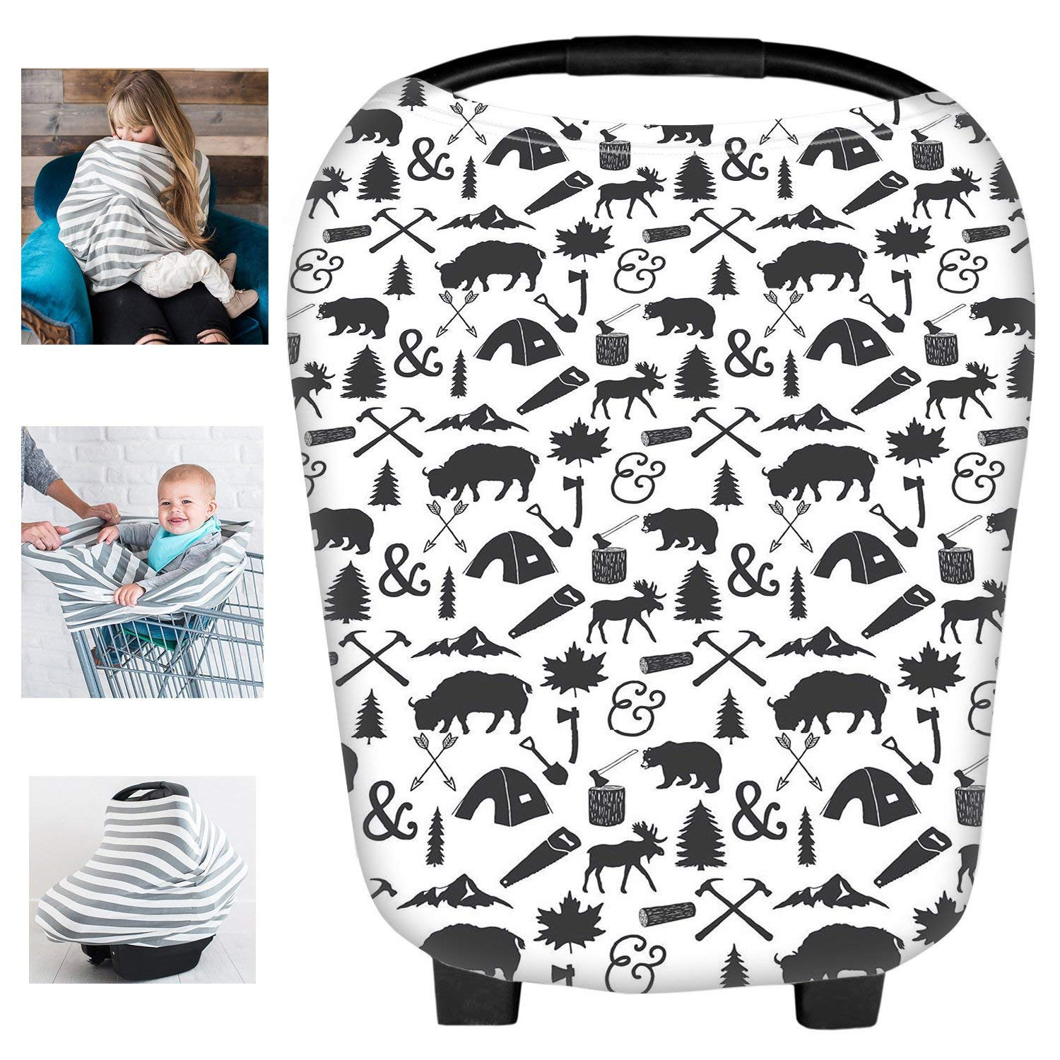 Multi-Use Organic Cotton Lycra Nursing Breastfeeding Cover Baby Car Set Cover Canopy Shopping Cart Cover Swaddle Blanket for Infants Newborns Toddlers Shower Gift Busy Mom