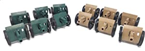 Toy Essentials 12 Pc Green and Desert Army Battle Cannons