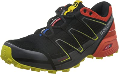 Salomon L38314200, Zapatillas de Trail Running para Hombre, Negro (Black/Tomato Red/Corona Yellow), 47 1/3 EU: Amazon.es: Zapatos y complementos