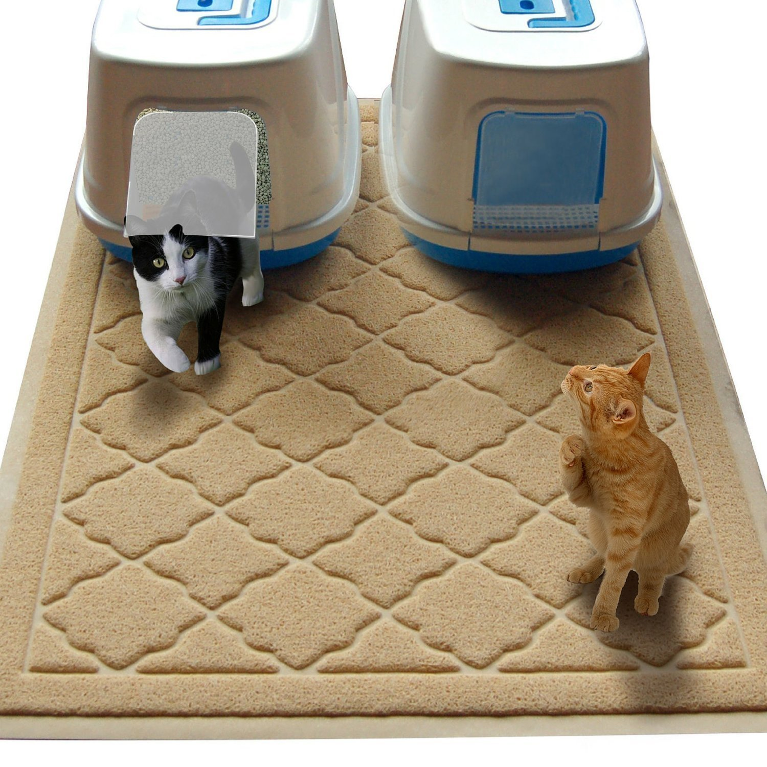 Non Toxic JUMBO Size Cat Litter Mat - (47 x 36 in) - Extra Large Scatter Control Kitty Litter Mats for Cats Tracking Litter Out of Their Box - Soft to Paws- (Patent Pending)