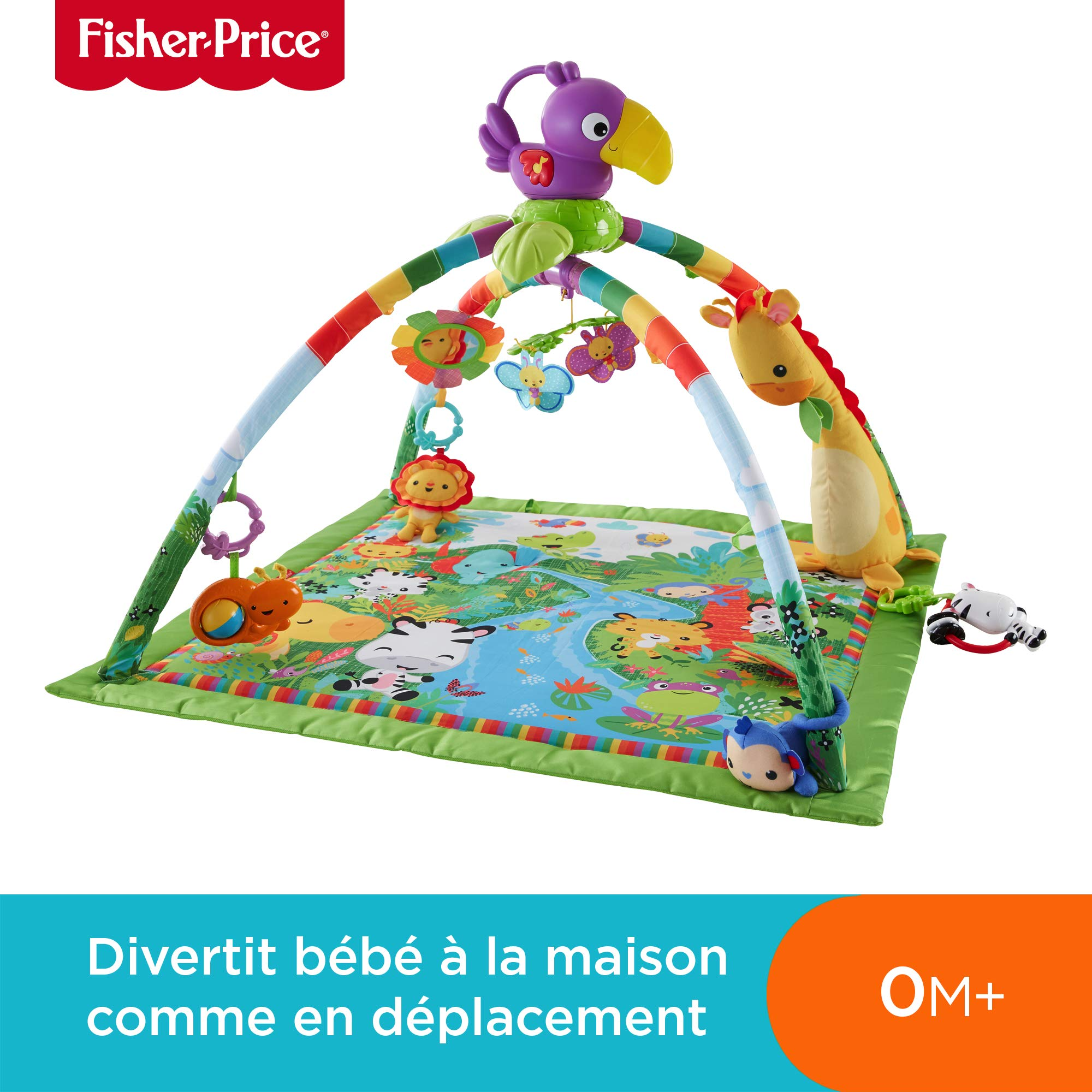 Fisher-Price Tapis Musical d'Éveil de la Jungle pour Bébé, avec Plus de 10 Jouets et Activités, Musique et Lumières Dansantes, dès la Naissance, DFP08 product image