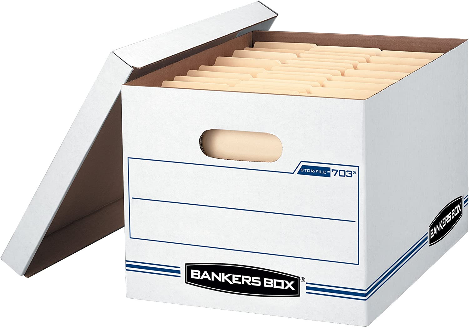 Bankers Box STOR/File Storage Boxes, Standard Set-Up, Lift-Off Lid, Letter/Legal, 4 Pack (0070308)