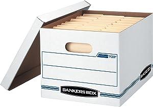 Bankers Box STOR/File Storage Boxes, Standard Set-Up, Lift-Off Lid, Letter/Legal, 4 Pack (0070308)