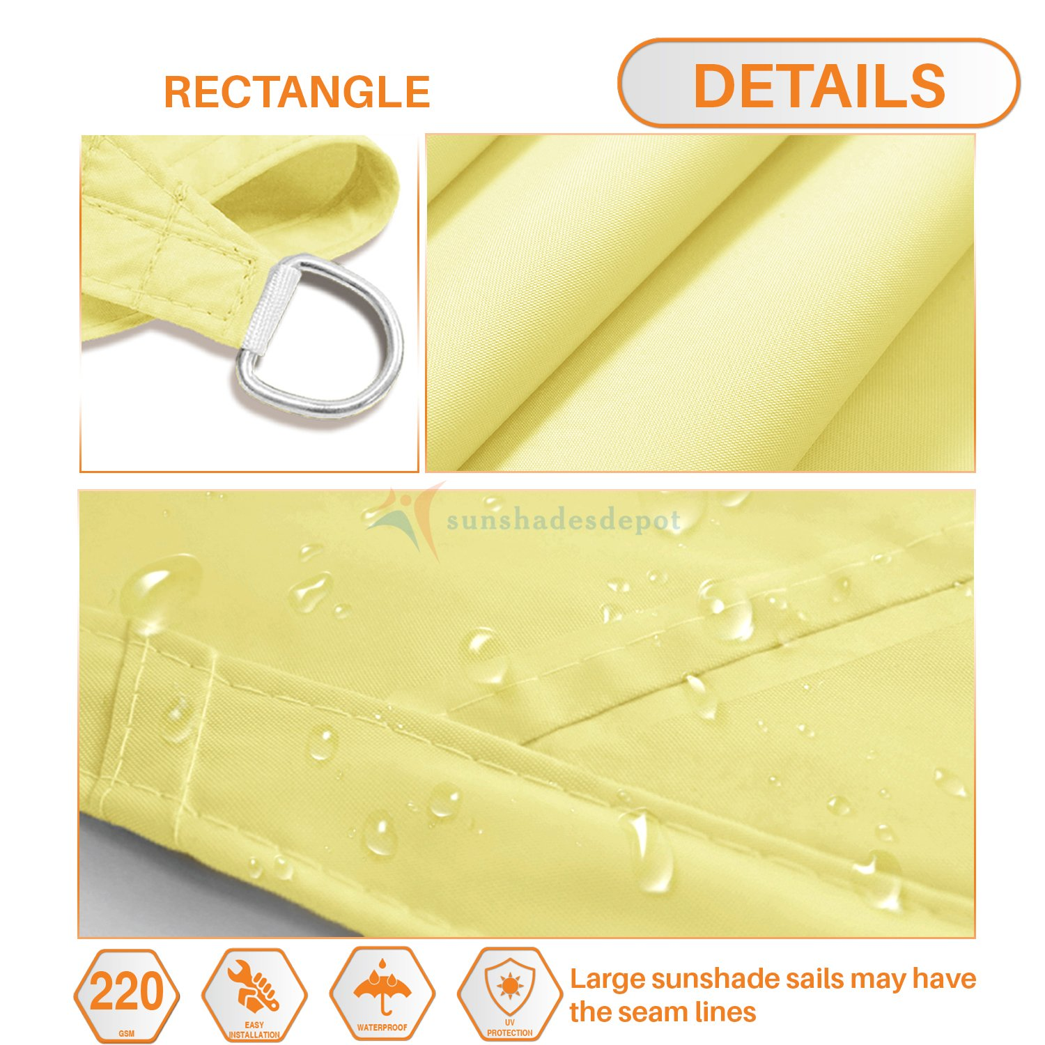 Sunshades Depot 16 x 16 Square Waterproof Knitted Shade Sail Curved Edge Canary Yellow 220 GSM UV Block Shade Fabric Pergola Carport Canopy Replacement Awning Customize Available