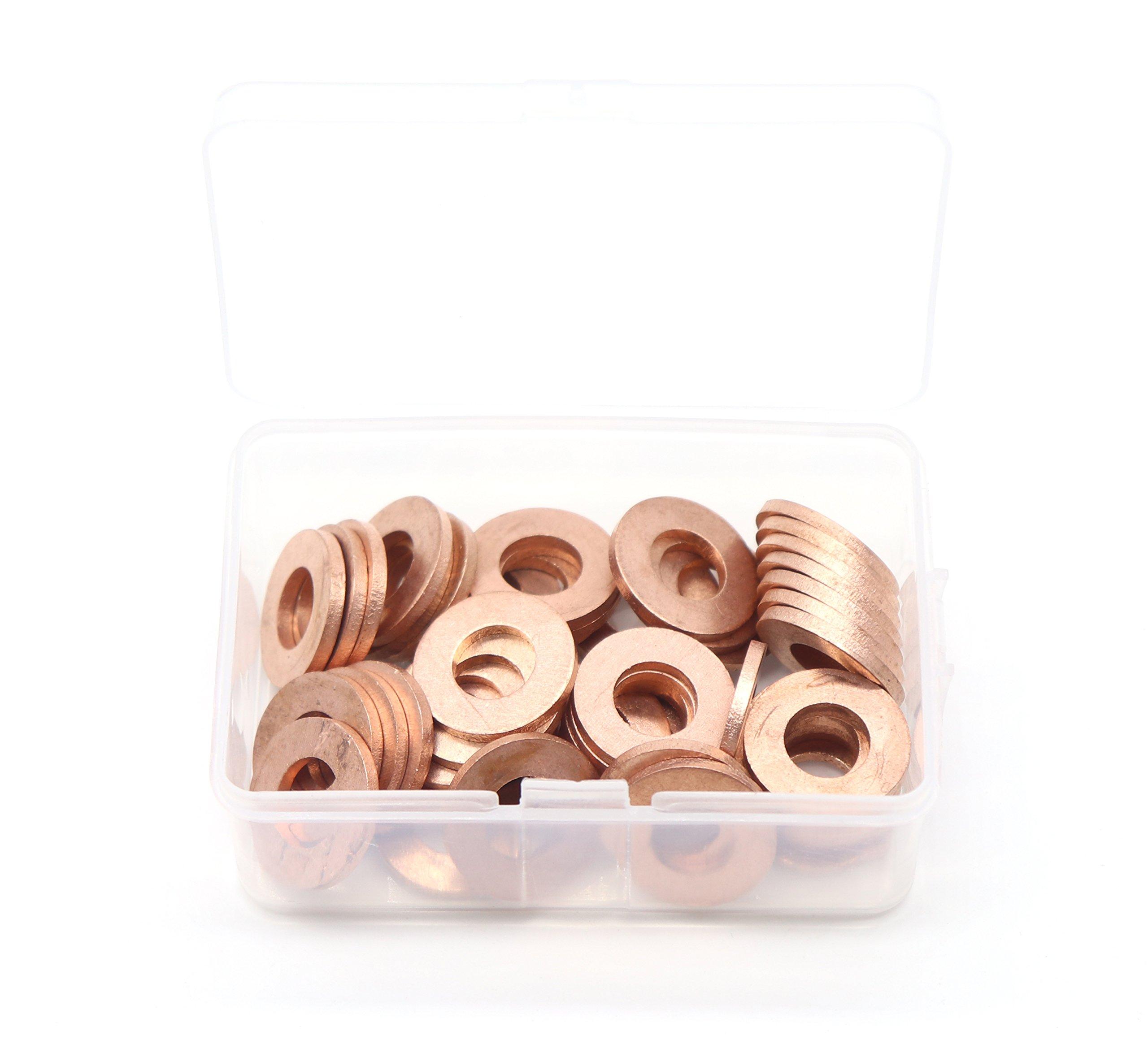 binifiMux 50-Pack M10 x 20 x 2mm Metric Flat Copper Sealing Washers by binifiMux (Image #1)