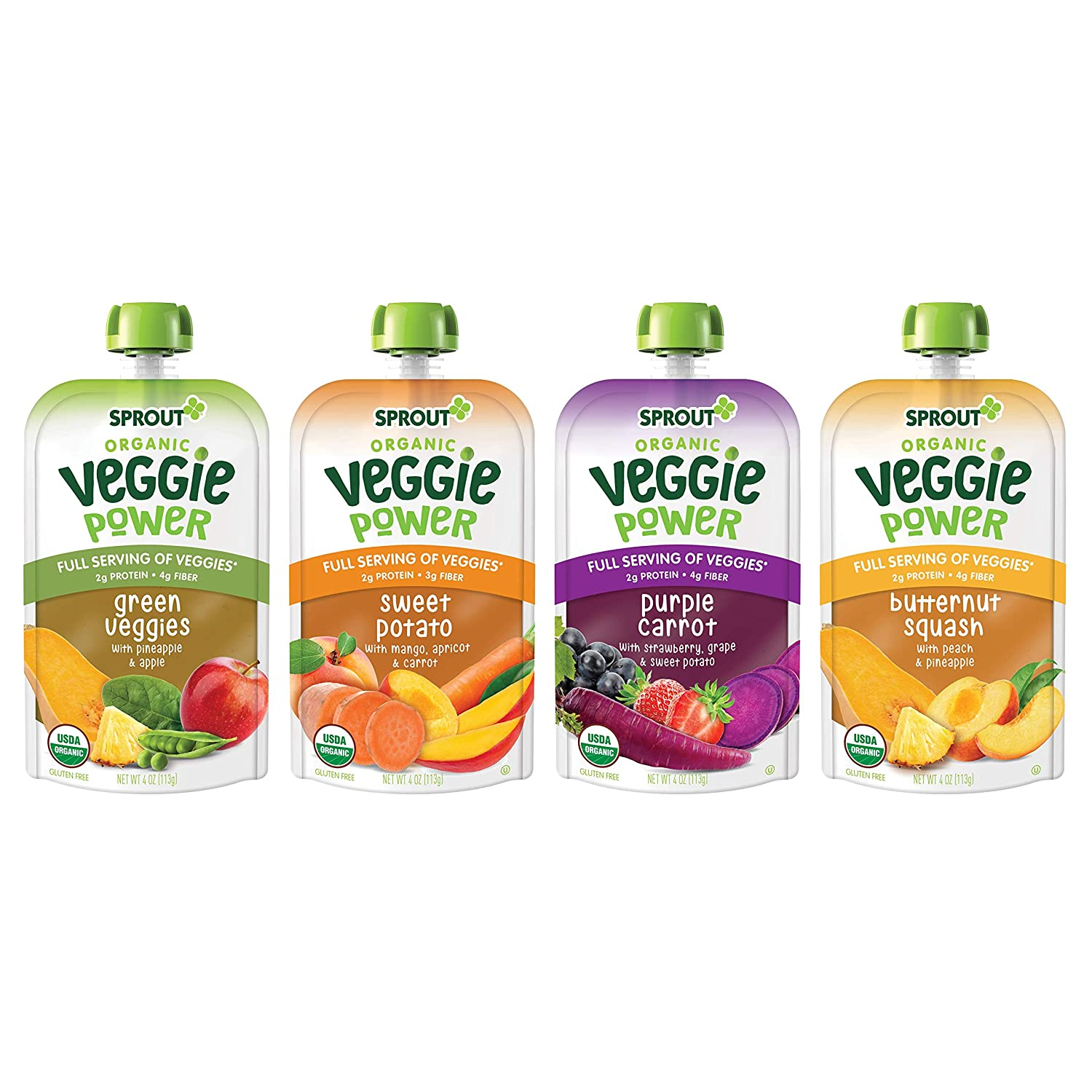 Sprout Organic Baby Food Toddler Veggie Power Pouches Stage 4, Variety Pack, 4 Flavors, 4 Ounce Pouches (3 Each)