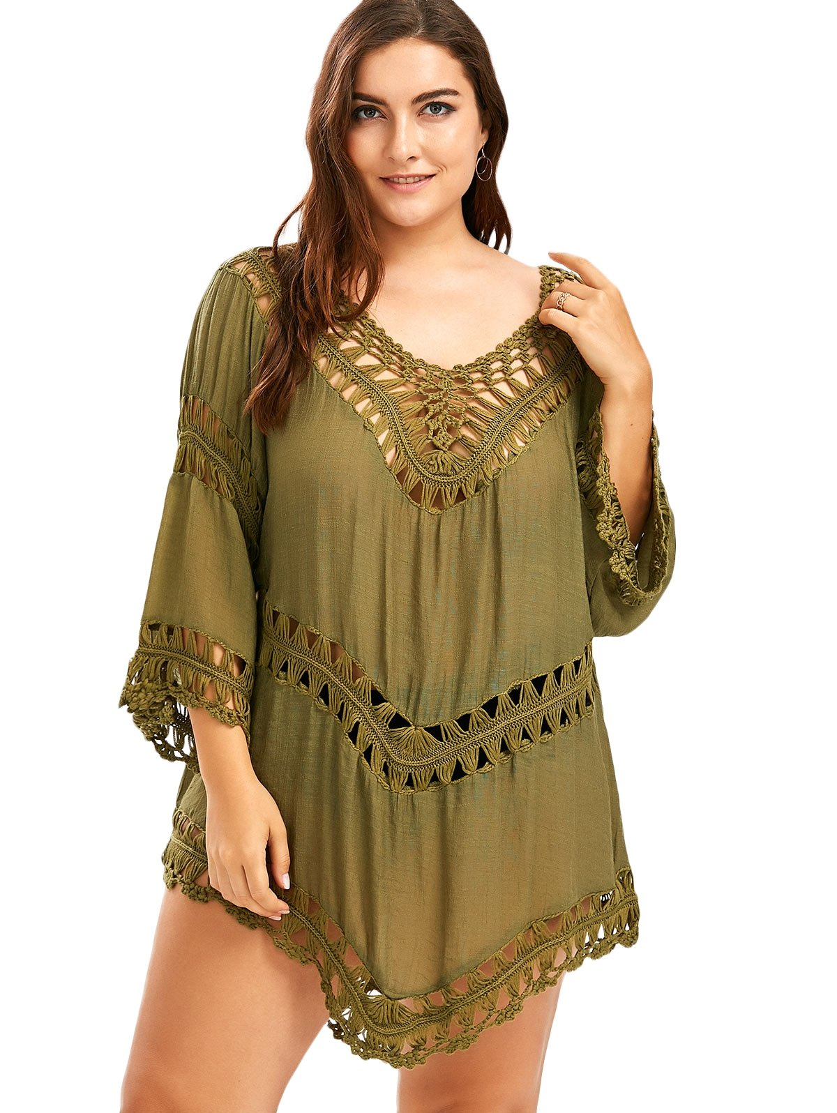Vanbuy Women V Neck Bohemian Style Crochet Tunic Top Beach Swimsuit Coverup Blouse Shirt Z129-Army Green by Vanbuy