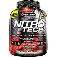 MuscleTech NitroTech Whey Protein Powder, Whey Isolate and Peptides, Vanilla, 4 Pound