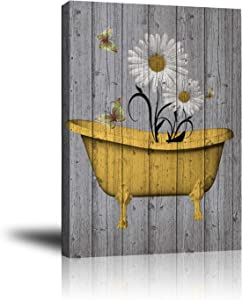 Rustic Giclee Canvas Wall Art Pictures for Bathroom Decor, Abstract Artwork Print White and Yellow Daisy Flowers Butterfly, Vintage Wooden Gray Background Wall Poster Framed Living Room 16x20 Inch