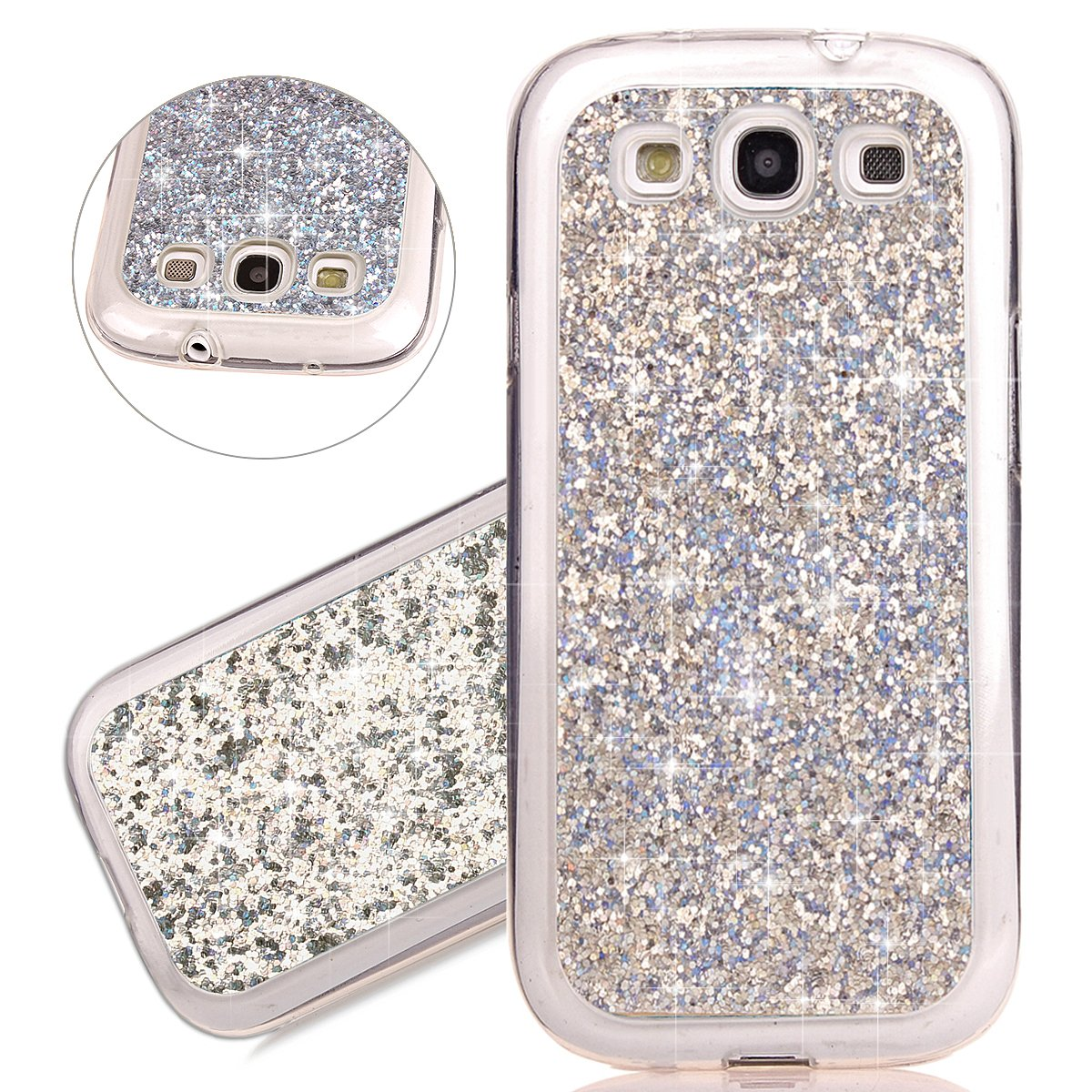 ISAKEN Custodia Galaxy S3 I9300, Glitter Bling Cover per Samsung Galaxy S3 - [TPU Shock-Absorption] Elegant Morbido Silicone Protettiva TPU Bumper Custodia Brillante,Ultra Sottile Gel Cassa Custodia Caso - Argento FASNO023279