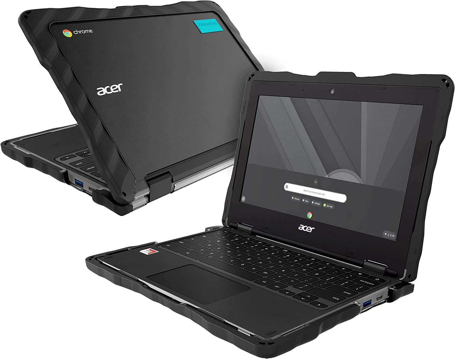 GumDrop DropTech Case Designed for Acer Chromebook 311 (C721) Chrome Laptop - Black, Rugged, Always-on, School-Ready, Shock Absorbing, Extreme Drop Protection Cover