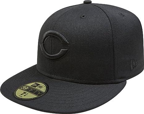 buy online 35e95 8d655 MLB Cincinnati Reds Black on Black 59FIFTY Fitted Cap, 6 7 8