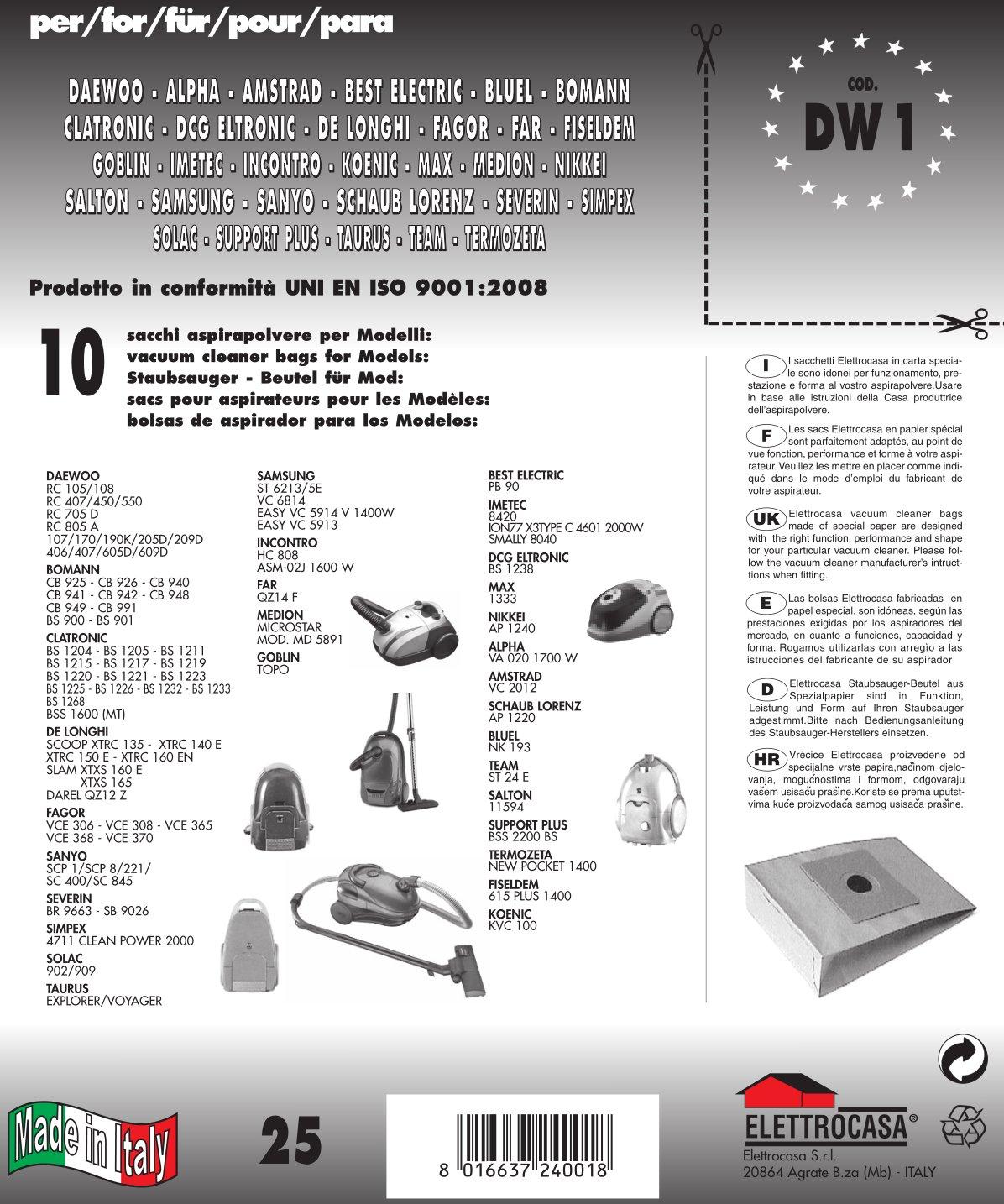 Acquisto DW 1 sacchetti per aspirapolvere confezione da 10 sacchi carta Prezzo offerta
