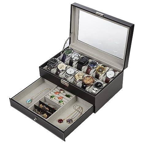 Readaeer Caja para 12 Relojes con dos capas , Hecho de ...