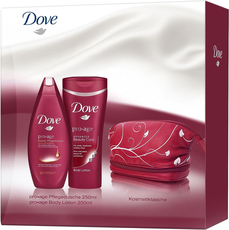 Dove Set de regalo (Pro Age ducha 250 ml + Loción 250 ml + Estuche para dama): Amazon.es: Belleza
