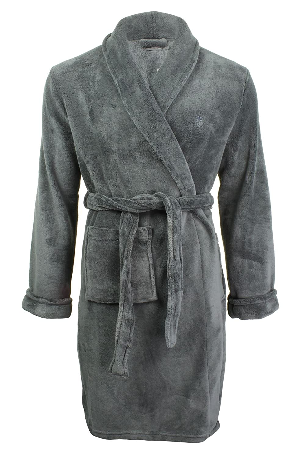 French Connection Men's Robe Dressing Gown Grey (Charcoal) X-Large (Size:L/XL) TGITK