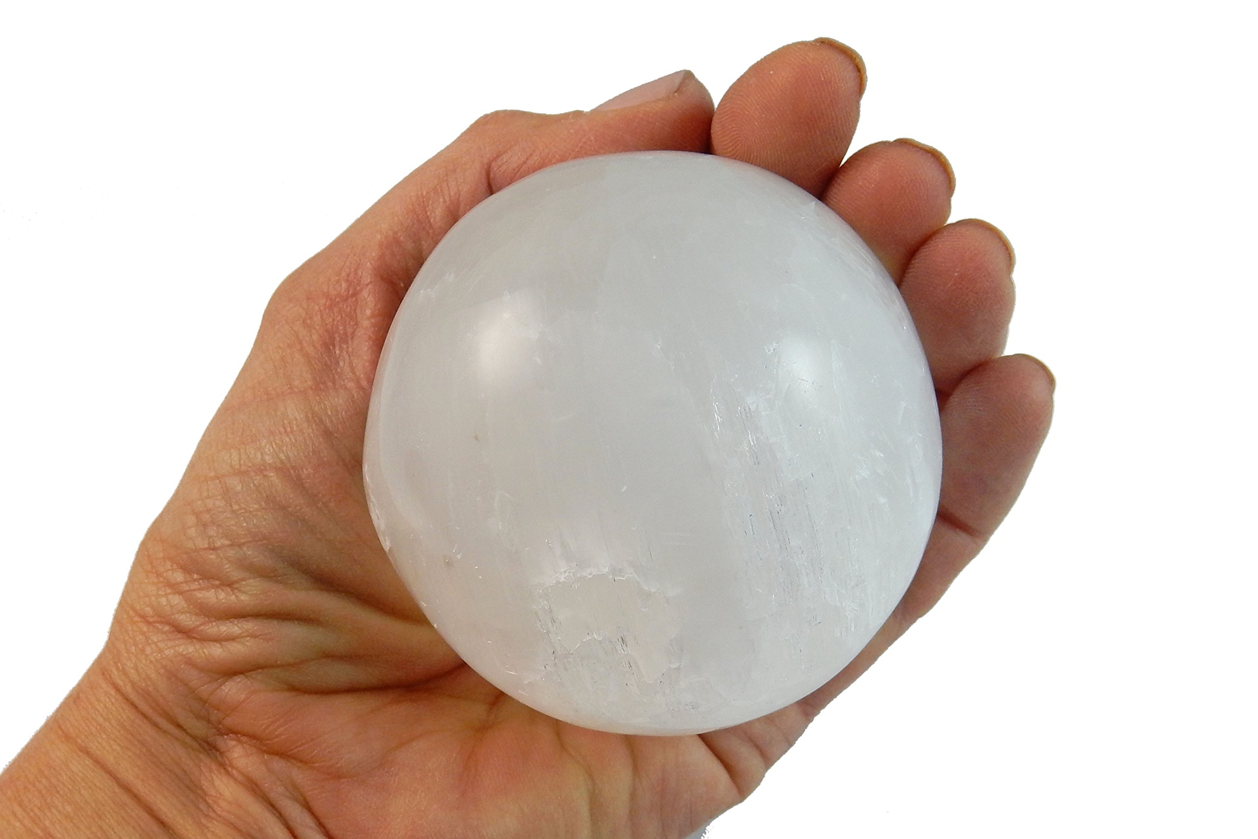 1 (One) Amazing Large Crystal Selenite Spiritual Healing Sphere / Ball on Wood Base with Certificate of Authenticity Beverly Oaks Exclusive