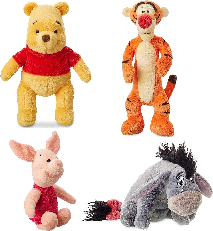 Disney Store Original Winnie The Pooh Mini Bean Plush Doll Set - Tigger, Eeyore, Piglet and Pooh
