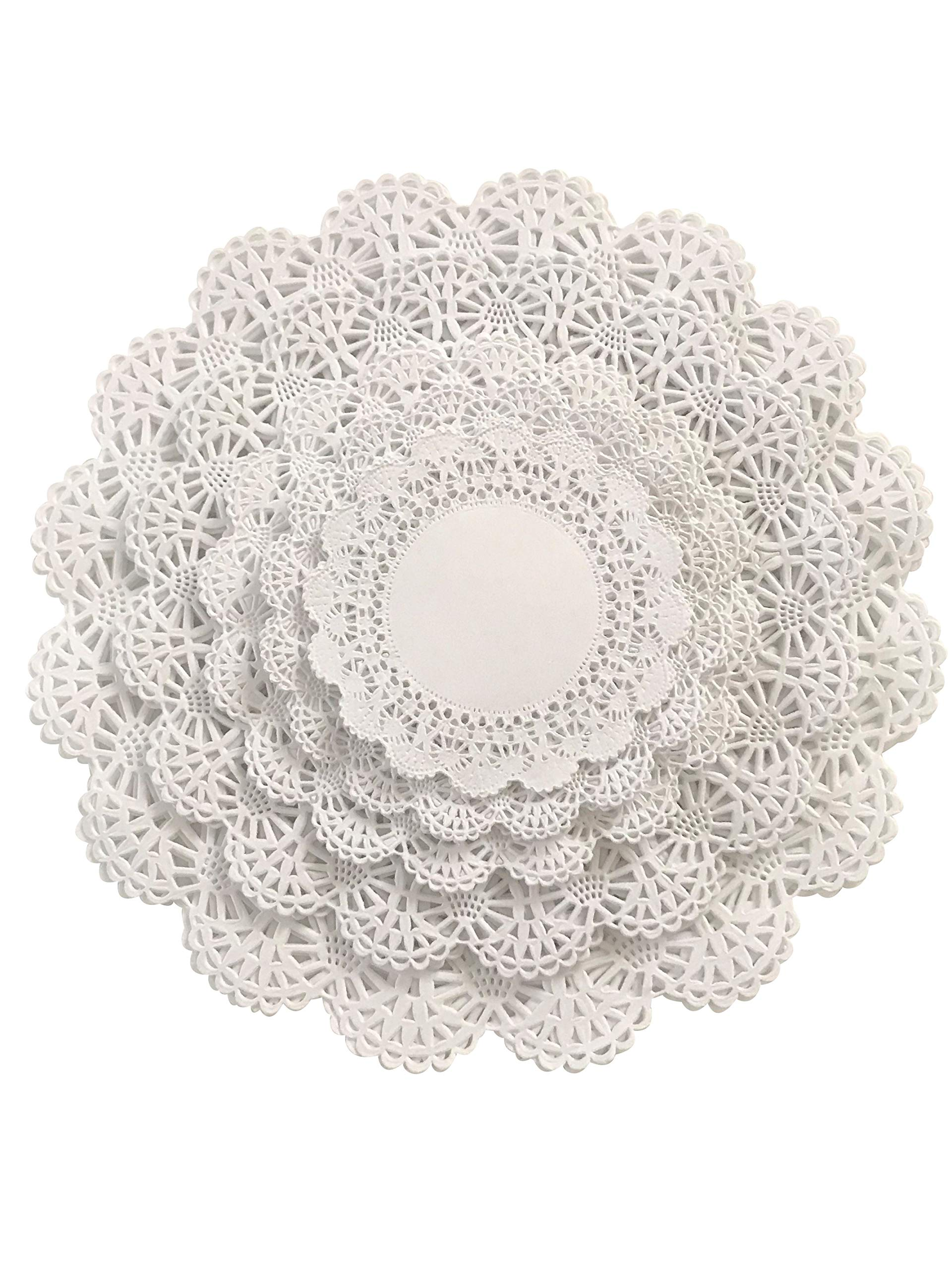 150 Paper Lace Doilies Variety Pack 30 each of 4, 5, 6, 8, and 10 inch (30 of each size) White Assorted Sizes