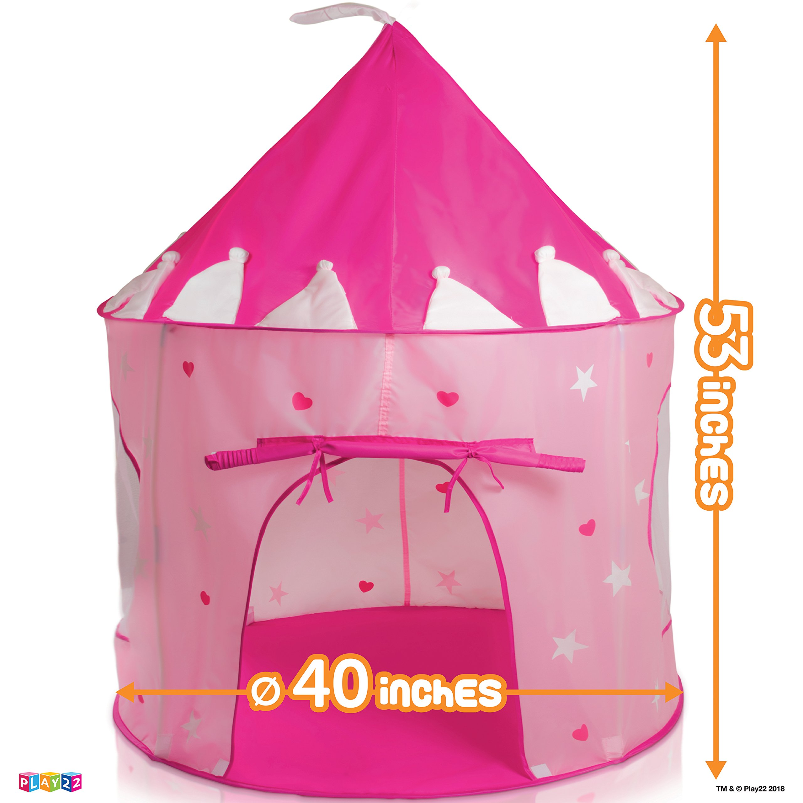 Play22 Play Tent Princess Castle Pink - Kids Tent Features Glow in The Dark Stars - Portable Kids Play Tent - Kids Pop Up Tent Foldable Into A Carrying Bag - Indoor and Outdoor Use - Original by Play22 (Image #4)