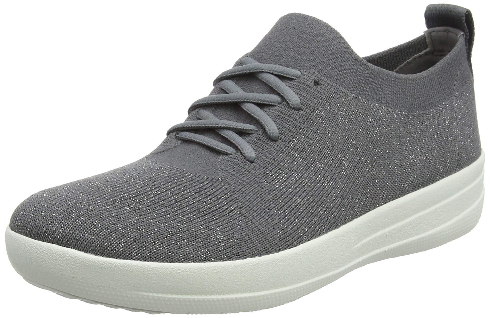 FitFlop Womens F-Sporty Uberknit Charcoal/Metallic Pewter Sneaker - 10