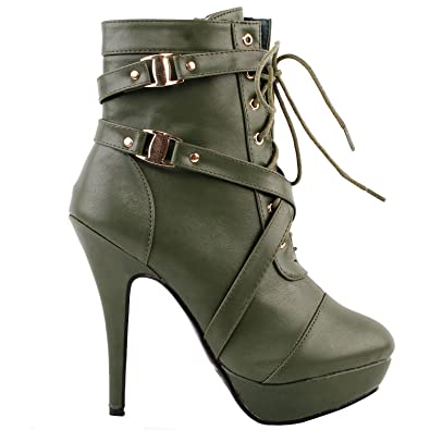 a272d5b1d6c0 SHOW STORY Army Green Buckle Strappy High Heel Stiletto Platform Ankle Boots