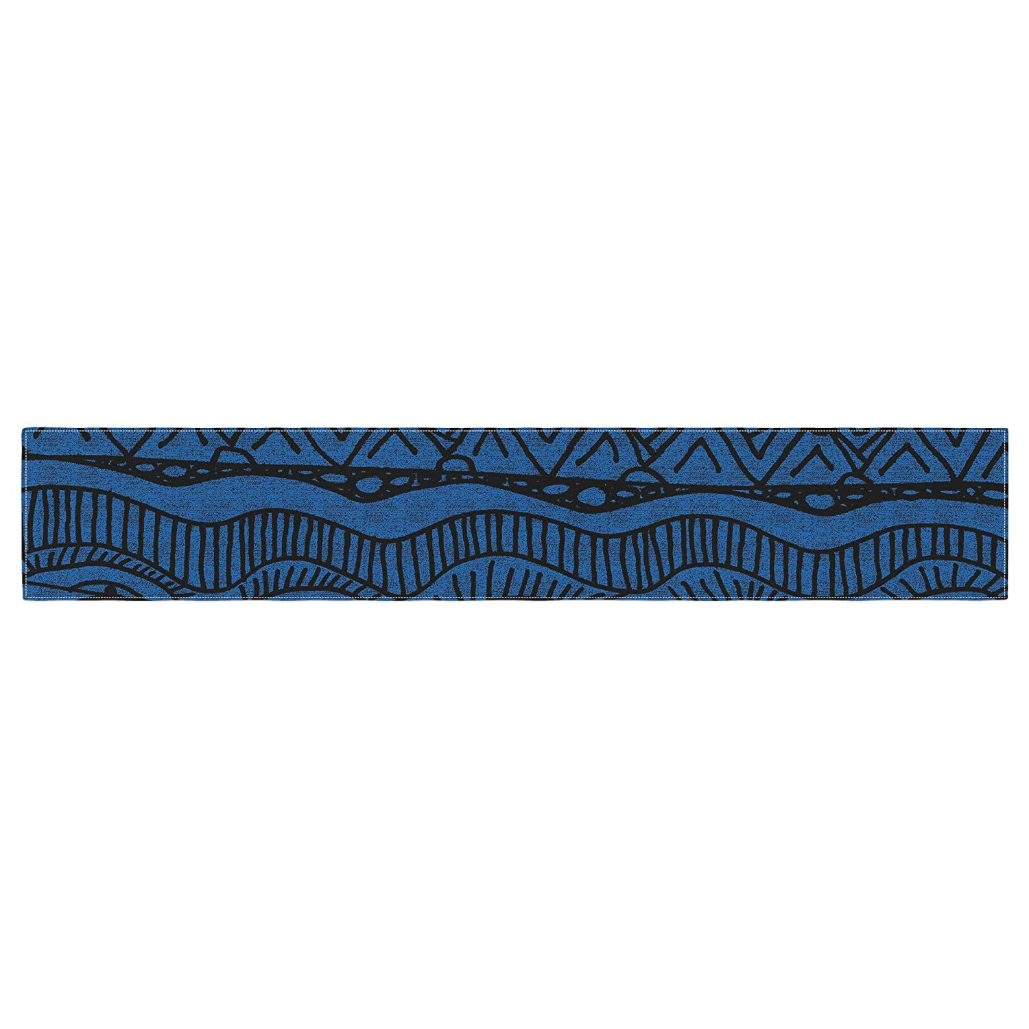 KESS InHouse Catherine Holcombe Black and Blue Pattern Table Runner 16 x 180