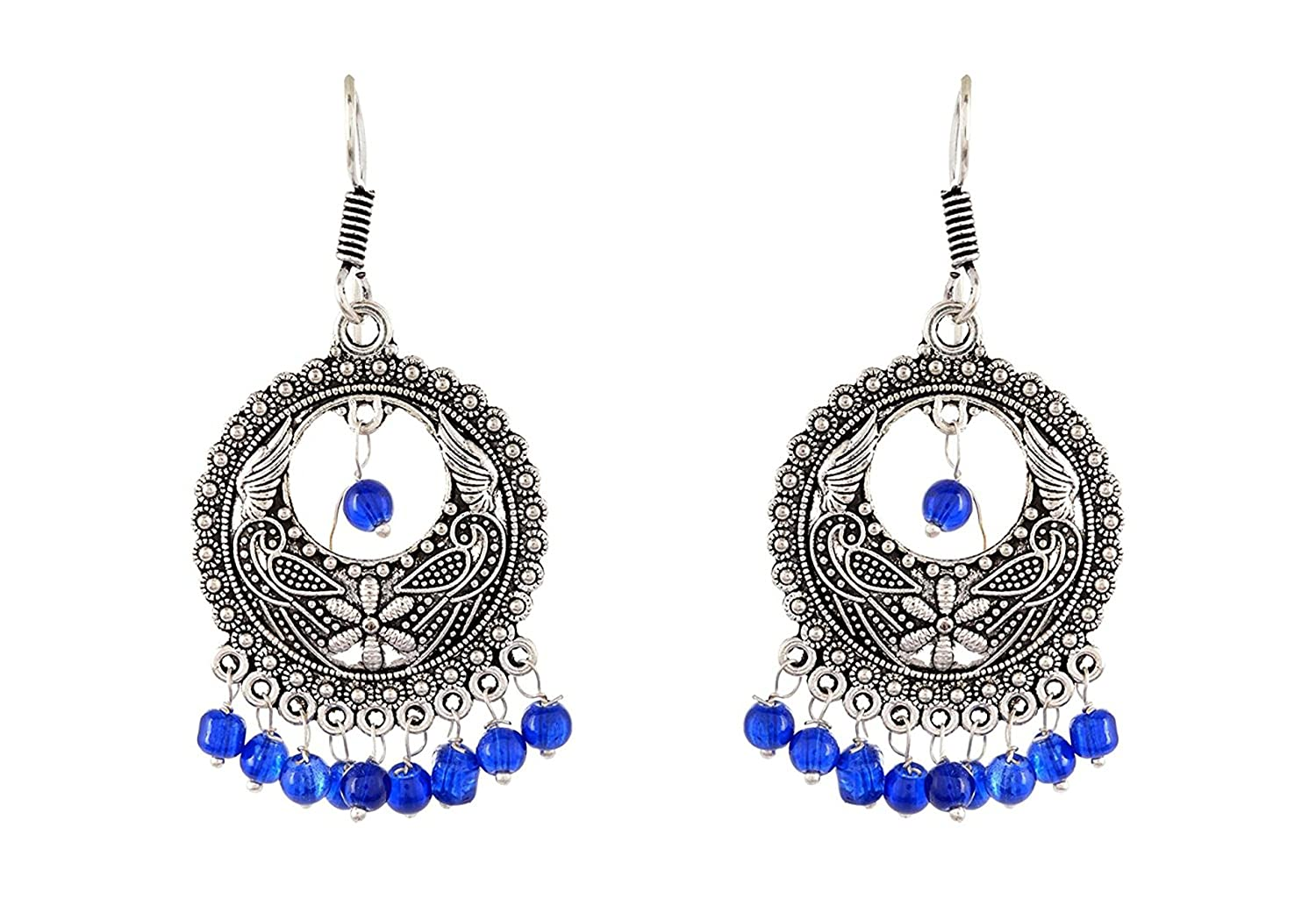 Subharpit Light Weight Metal Blue Indian Dangle Earrings for Women and Girls