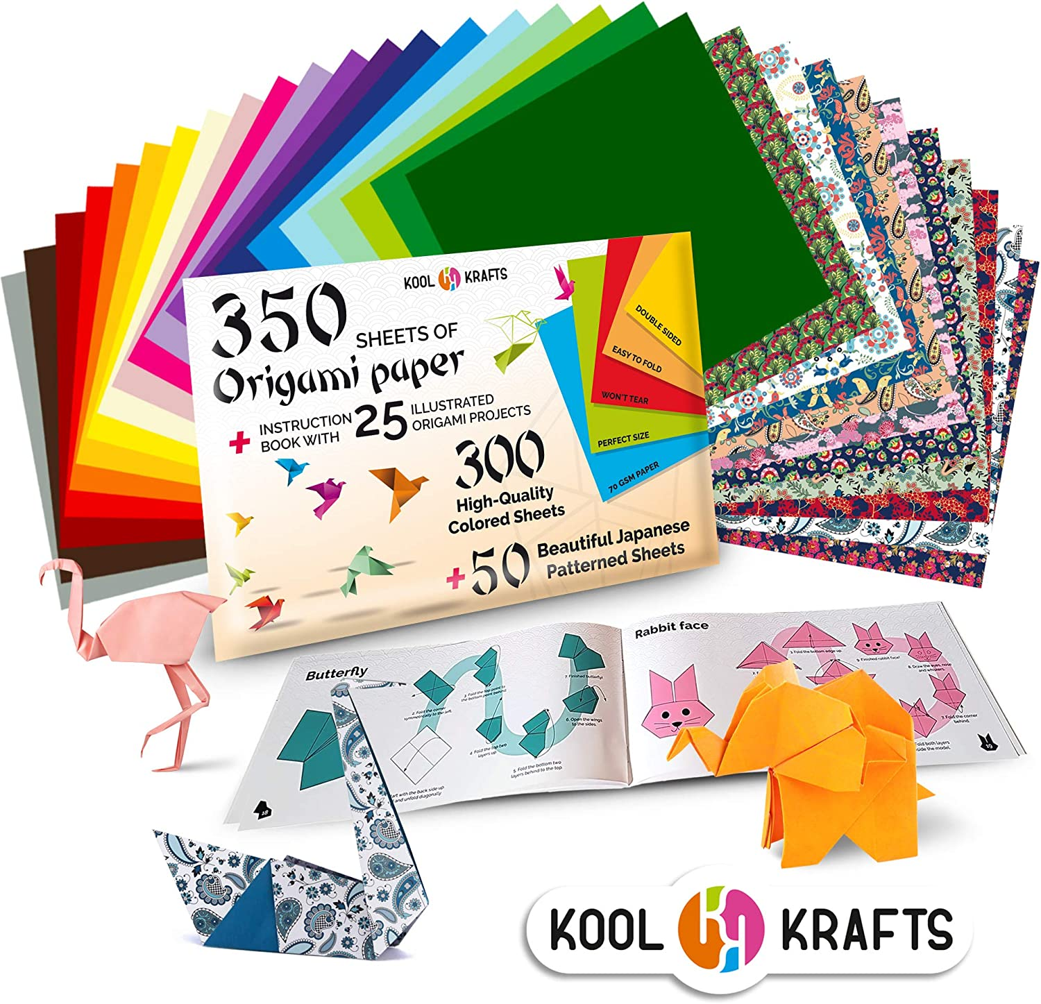 Amazon Com Kool Krafts 350 Origami Paper Kit With 25 Easy Origami Projects Colored Book Premium Quality For Arts And Crafts 6x6 Inch Square Sheets 20 Vibrant Same Color On Both Sides 50 Japanese Patterns