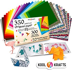 Kool Krafts 350 Origami Paper Kit, with 25 Easy Origami Projects Colored Book - Premium Quality for Arts and Crafts, 6x6 inch Square Sheets, 20 Vibrant Same Color on Both Sides, 50 Japanese Patterns