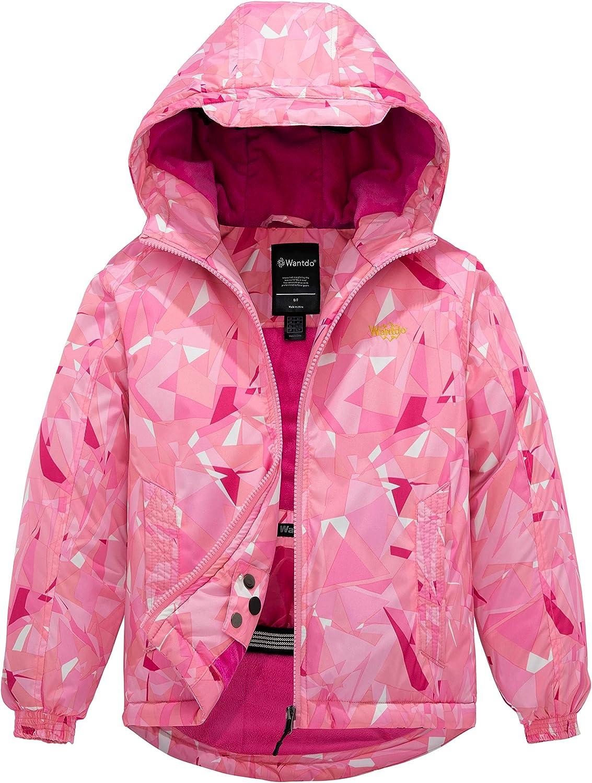 Wantdo Girl's Waterproof Ski Jacket Hooded Windproof Fleece Winter Snow Coat