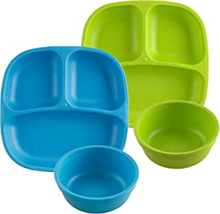 product image for Re-Play Made in USA 4pk Starter Dining Set of 2 Divided Plates with 2 Matching Bowls in Sky Blue and Lime Green. Made from Eco Friendly Heavyweight Recycled Milk Jugs - virtually Indestructible!