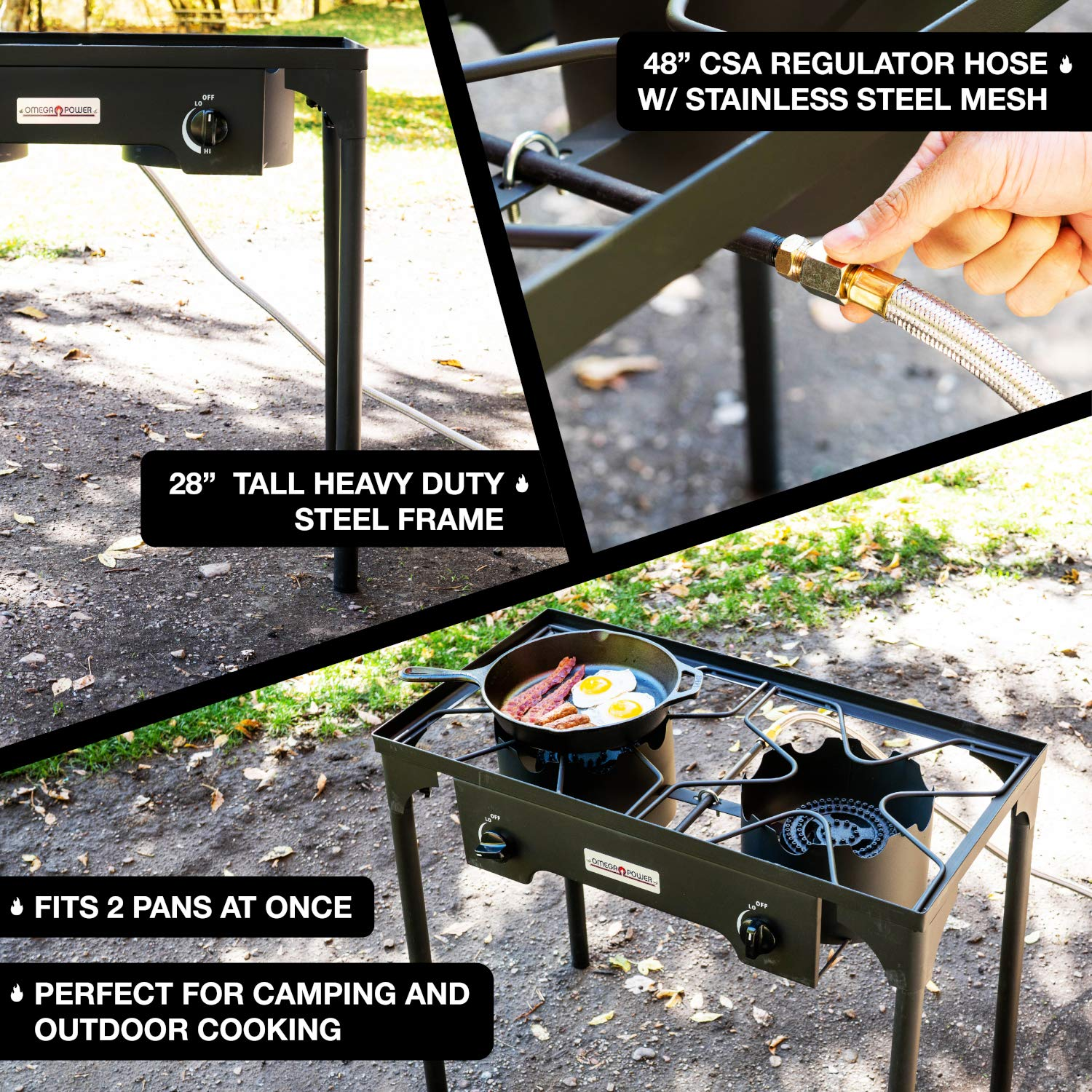 Leaderware High Pressure Gas Cooking Stove with 2 Burners, Outdoor Camping Kitchen Accessories by Leaderware (Image #7)