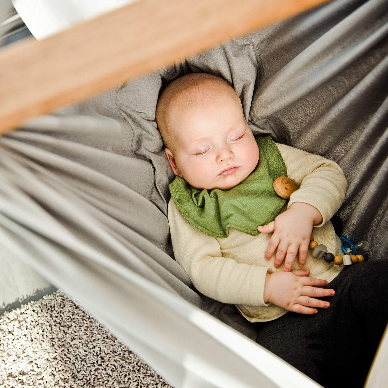 NONOMO Baby Federwiege Set 100/% Bio Baumwolle mit Kunstfaser-Matratze und Deckenbefestigung in grau ab 5 Monaten