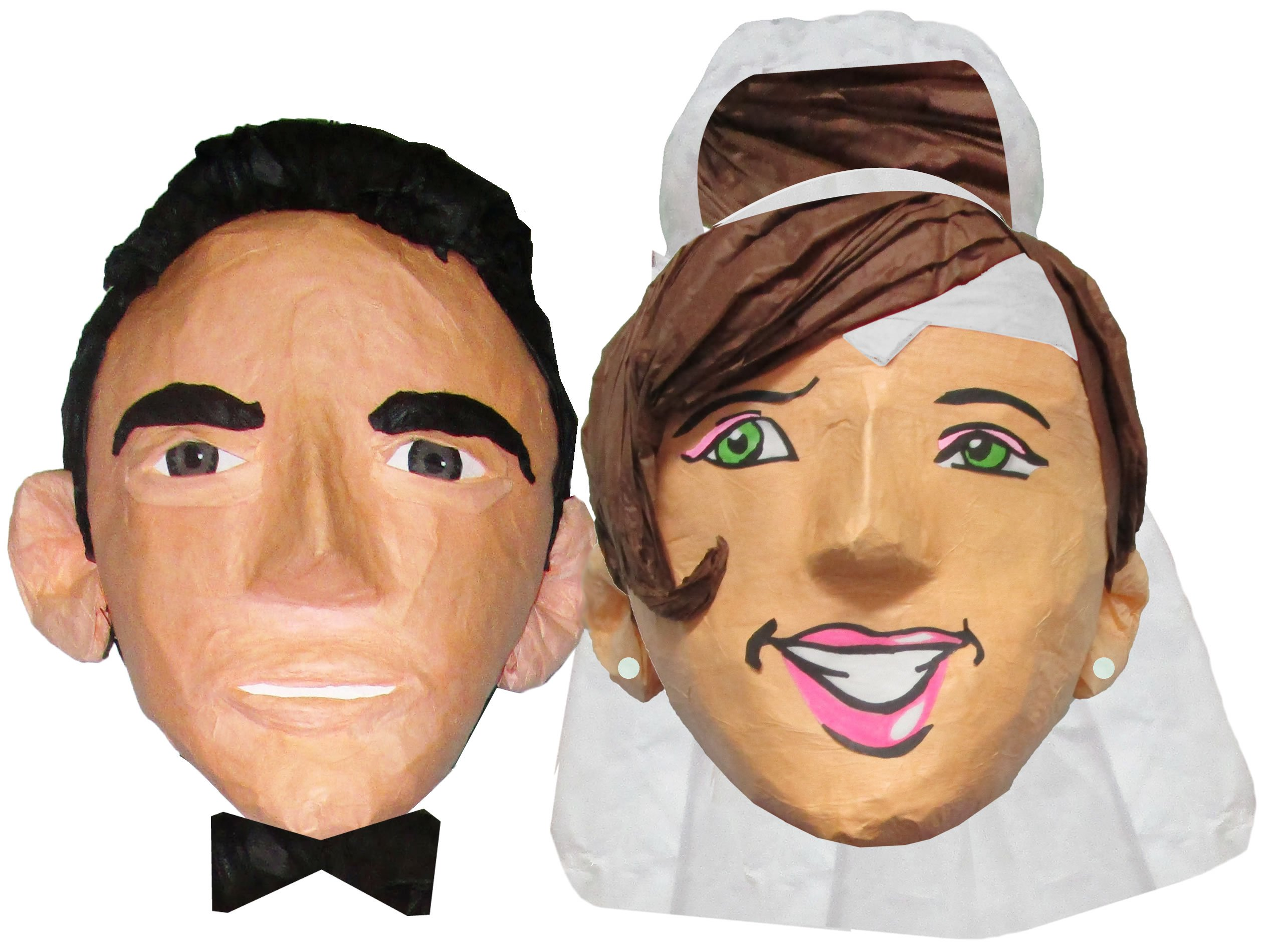 Custom Wedding Couple Bride and Groom Pinata, Photo Prop, Centerpiece Decoration and Party Game (Super Size, Heads) by Pinatas.com