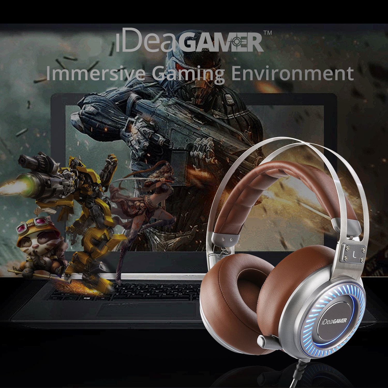 Gaming Headset, 7.1 Surround Sound 4D Gamer Headphones