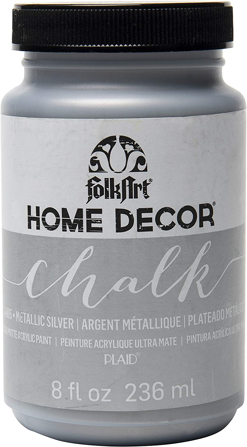 Amazon Com Folkart Home Decor Chalk Furniture Craft Paint In Assorted Colors 8 Ounce Metallic Silver