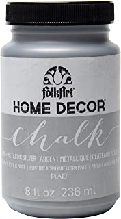 product image for FolkArt Home Decor Chalk Furniture & Craft Paint in Assorted Colors, 8 ounce, Metallic Silver