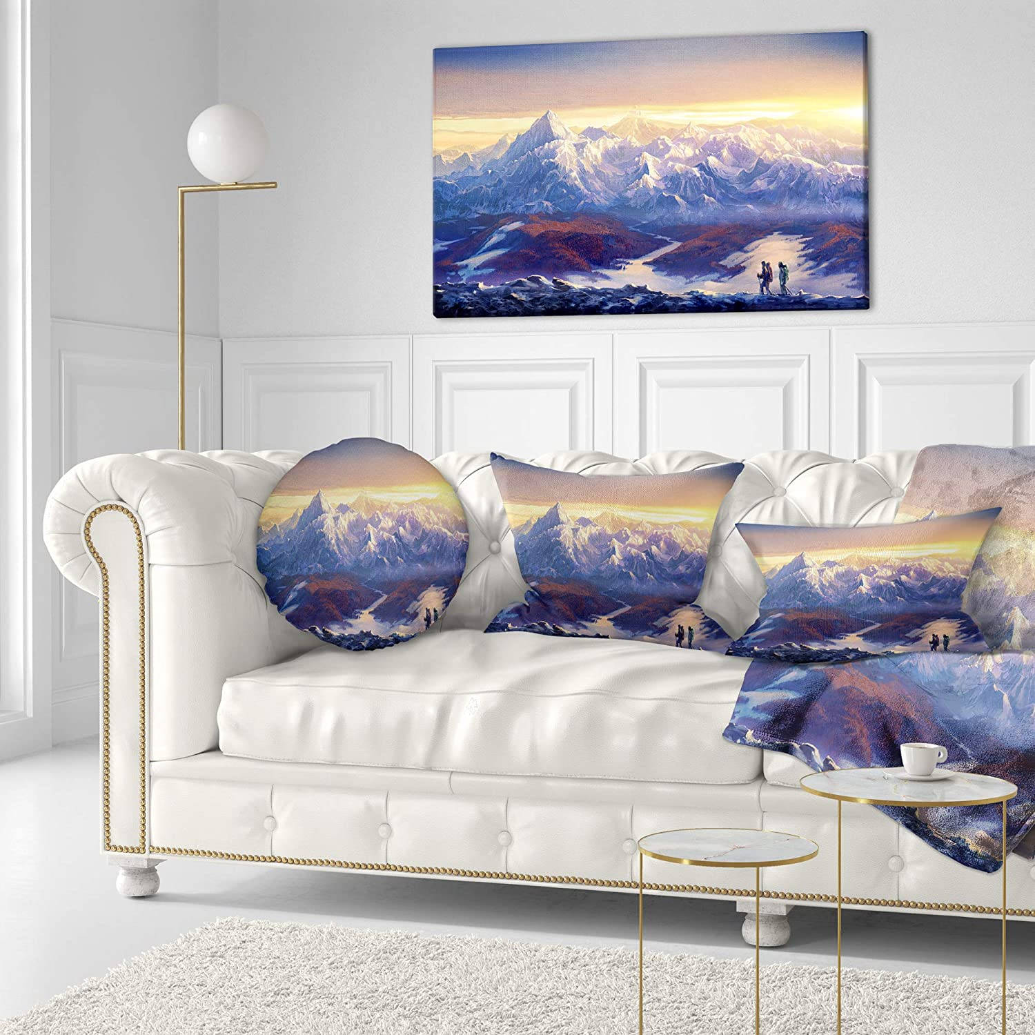 Designart CU13111-20-20-C Winter Mountains with Tourists Landscape Printed Round Cushion Cover for Living Room Sofa Throw Pillow 20