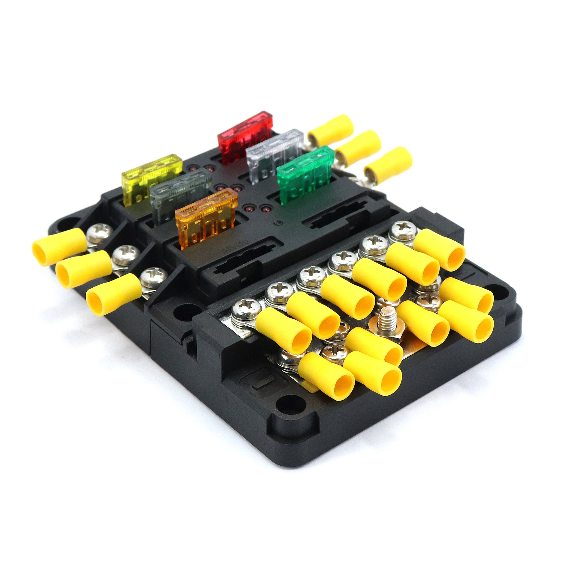 Blade Fuse Block Box Holder 6 Circuits ATP and Negative Bus Bar With LED Indicator for Blown Fuse Suitable For Automotive Marine Boats with 5A/10A/15A/20A /25A/30A Weiruixin