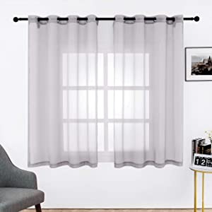 Bermino Faux Linen Sheer Curtains Voile Grommet Semi Sheer Curtains for Bedroom Living Room Set of 2 Curtain Panels 54 x 63 inch Grey