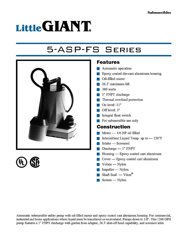 eae62377e8b Little Giant 505400 5-ASP-FS 115 Volts 1200 GPH Automatic Submersible  Utility Pump - Sump Pump Accessories - Amazon.com