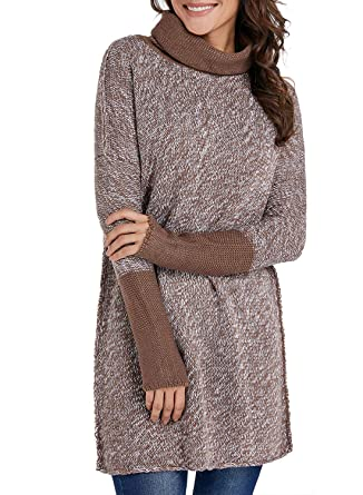 367b64b8493 Arainlo Womens Casual Oversized High Turtleneck Long Sleeve Chunky Knit  Pullover Sweater at Amazon Women's Clothing store: