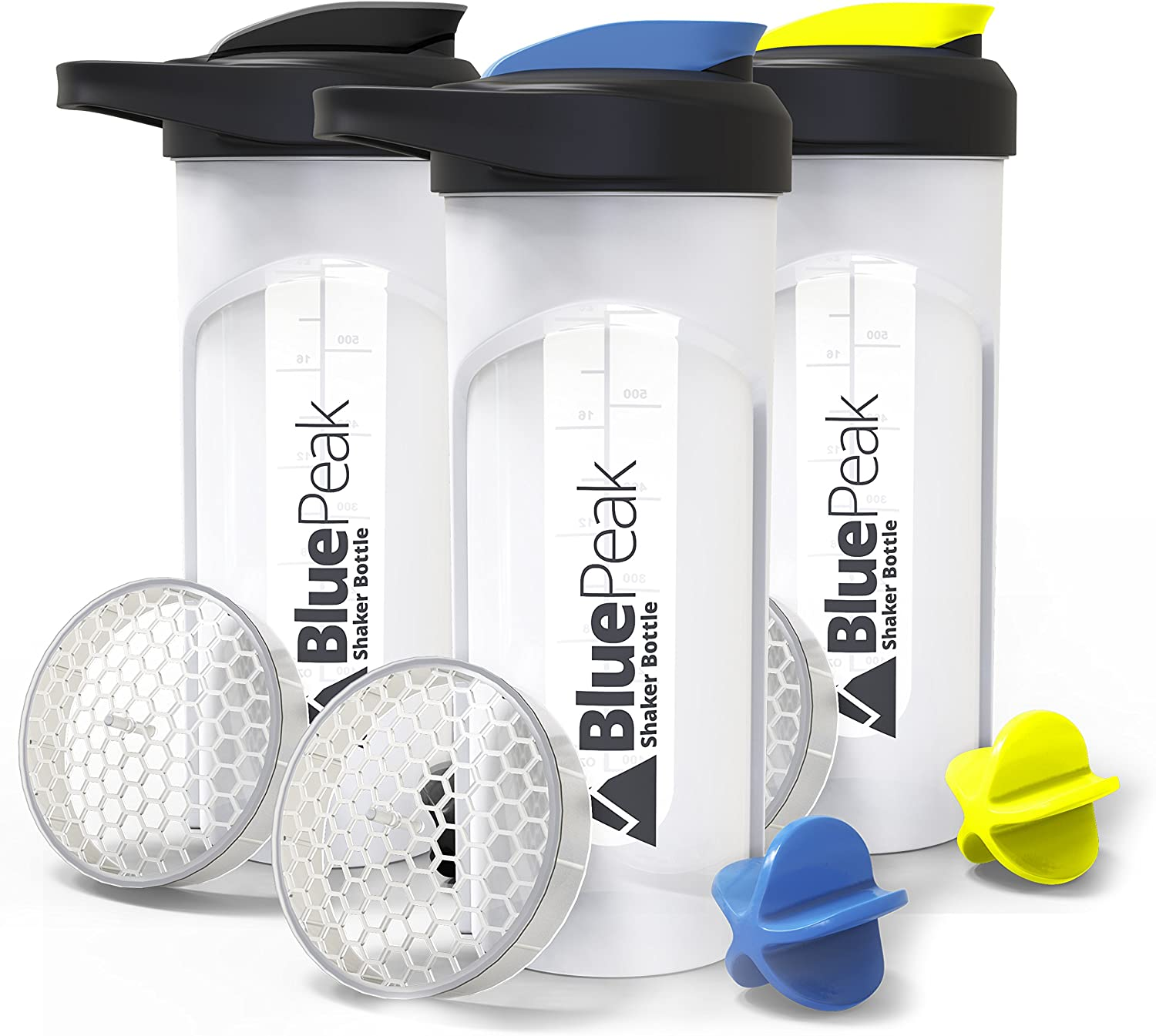 BluePeak Protein Shaker Bottle 28-Ounce, 3-Pack, with Dual Mixing Technology. BPA Free, Shaker Balls & Mixing Grids Included (Yellow, Blue & Black)