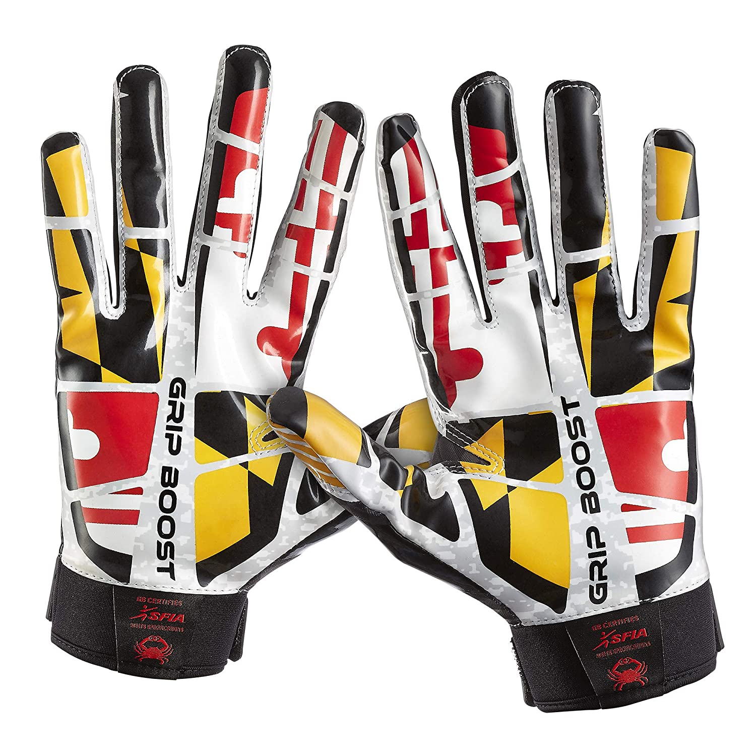 Grip Boost Maryland Flag Football Gloves Stealth Sticky Football Gloves Pro Elite Football Gloves Youth and Adult Sizes