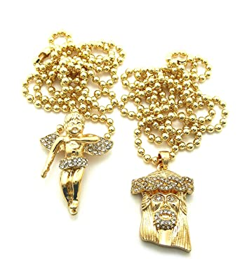 Iced Out 2 Piece Jesus Micro Pendant Necklace Set with 61cm Cuban/76.2cm Box Chains - Gold-Tone
