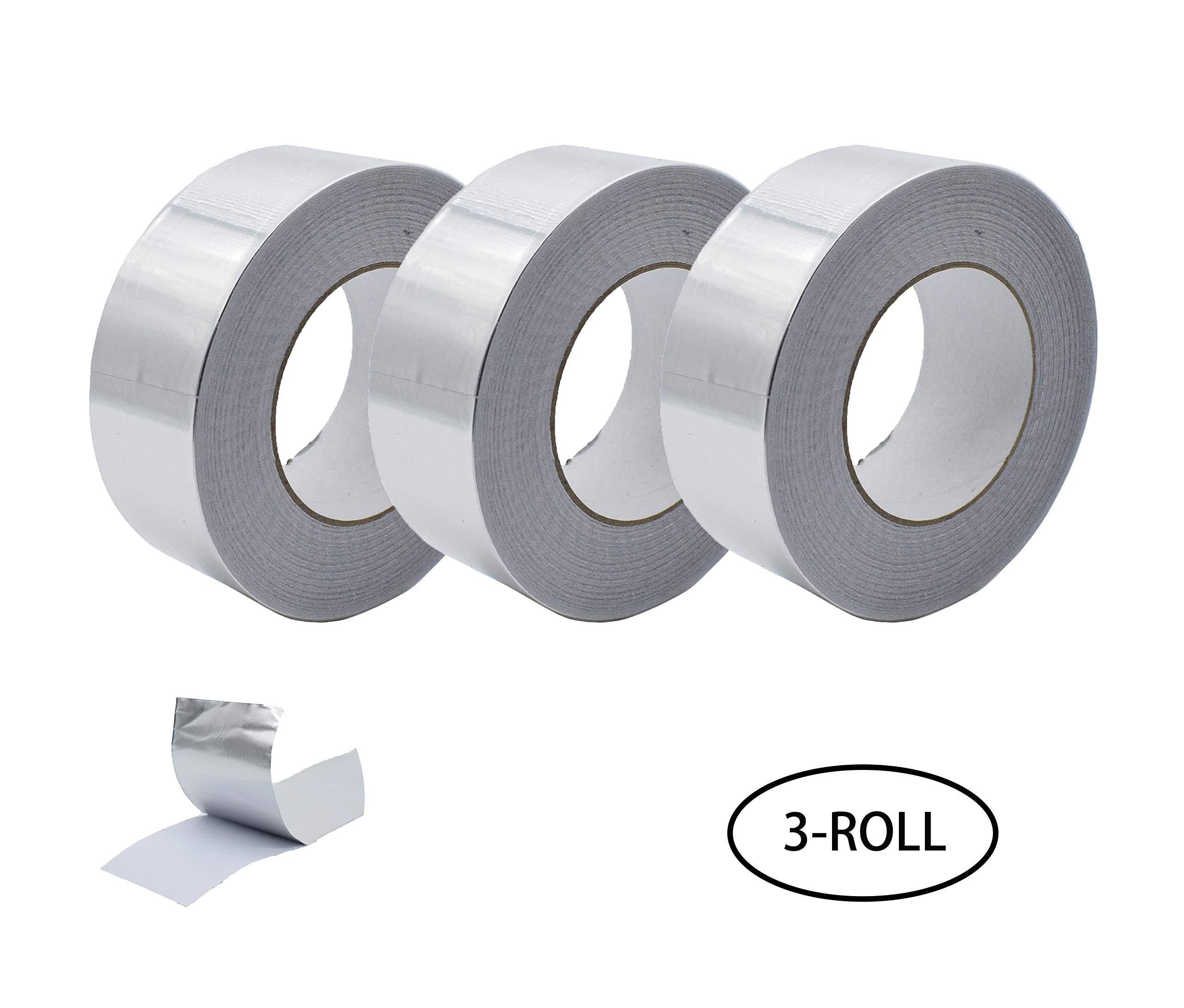 Aluminum Foil Tape, Aluminum Air Duct Tape, Professional Adhesive Aluminum Foil Tape for HVAC, Pipe, 2 inch x 55 yard(3.9mil), 3-Roll Multi Pack ...