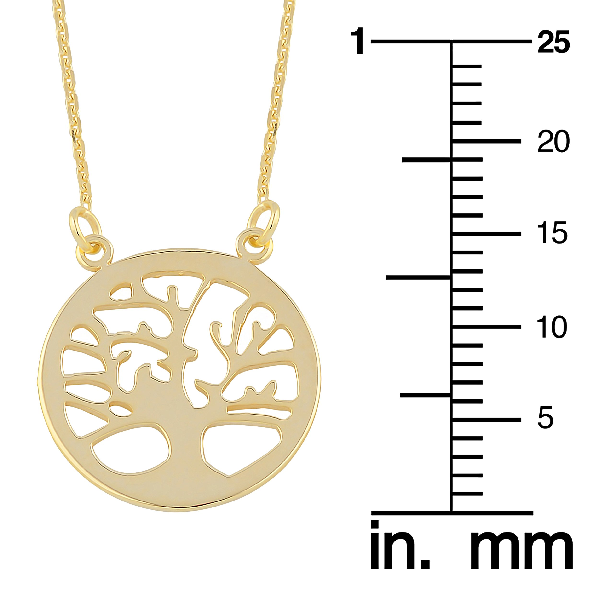 10k Yellow Gold Sideways Tree Of Life Adjustable Length Necklace (from 16'' to 18'') by Kooljewelry (Image #3)