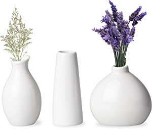 Upper Midland Products 3 White Vases for Decor, Small White Vase Ceramic Vases for Home Decor